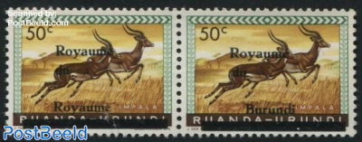 Error overprint; Royaume du Royaume 1v (pair with normal stamp)