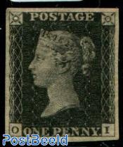 1p Black, Queen Victoria, Worlds first stamp