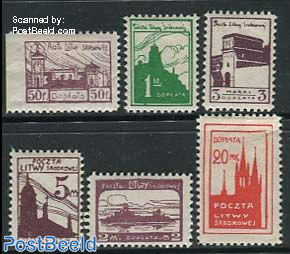 Central Lithuania, Postage due, City views 6v