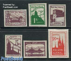 Central Lithuania, postage due, City views 6v imp.