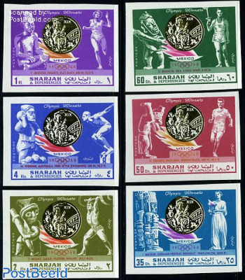 Olympic winners Mexico 6v imperforated