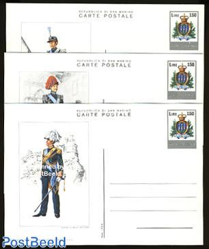 Postcard set 150L, military uniforms (3 cards)