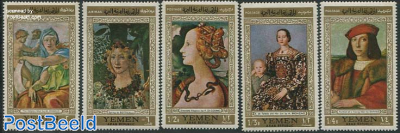 Florentin paintings 5v, gold border